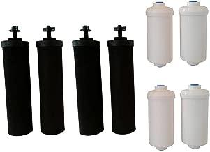 Four Black Berkey (BB9) Replacement Filters & Four Berkey Fluoride Water Filters (PF2)
