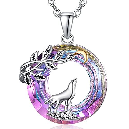 Collar con colgante de lobo de plata de ley 925 con colgante de cristal de lobo para mujeres, novias, esposas y señoras