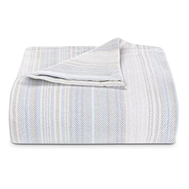 Tommy Bahama Sandy Shore Stripe Bed Blanket, King, Turquoise