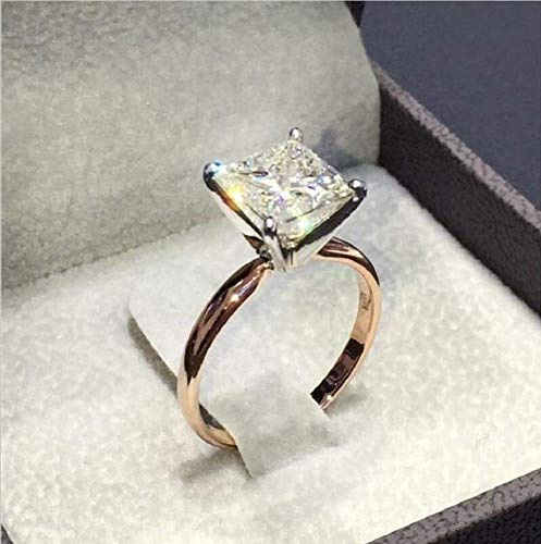 Xiaomei 18K Rose Gold 2ct Cubic Zirconia Simulated Diamond Solitaire CZ Engagement Rings Inlaid Princess Diamond Ring Bridal Engagement Wedding Anniversary Ring Size 6-10 (US 8)