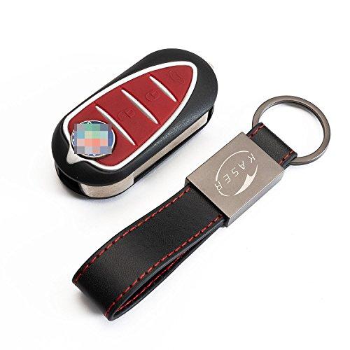 Schlüssel Gehäuse Fernbedienung für Alfa Romeo Autoschlüssel Funkschlüssel Mito Giulietta 159 Brera mit Leder Schlüsselanhänger KASER