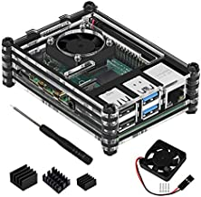 TOOGOO Acrylic Transparent/Clear & Black Case Cover for Raspberry Pi 4 Model B, with Cooling Fan for Raspberry Pi 4B