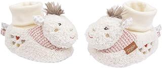 Fehn 058185 Lama - Zapatos de actividades para bebé con sonajero, diseño de cabeza de animal, color beige