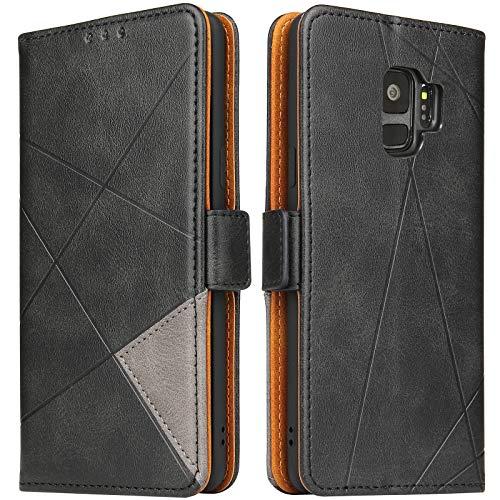 BININIBI Hülle für Samsung Galaxy S9, Klapphülle Handyhülle Schutzhülle für S9 Tasche, Lederhülle Handytasche mit [Kartenfach] [Standfunktion] [Magnetisch] für Samsung Galaxy S9, Schwarz