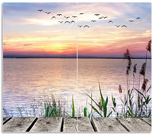 Wallario Herdabdeckplatte/Spritzschutz aus Glas, 2-teilig, 60x52cm, für Ceran- und Induktionsherde, Seepanorama mit Schilf und fliegenden Vögeln