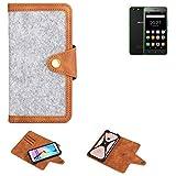 K-S-Trade Etui De Téléphone Portable pour Hisense Rock Lite Housse De Protection Felt PU Cuir Gris...
