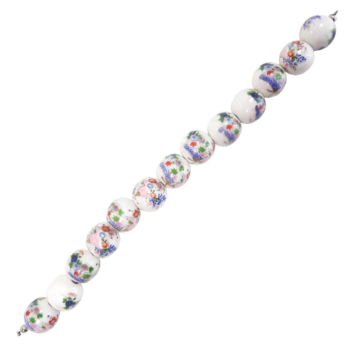 Fiona 100511-09 Series 7.5-Inch Porcelain Beads Strand, Japanese Style Flower Arrangement Printed on 14mm Round Porcelain Beads