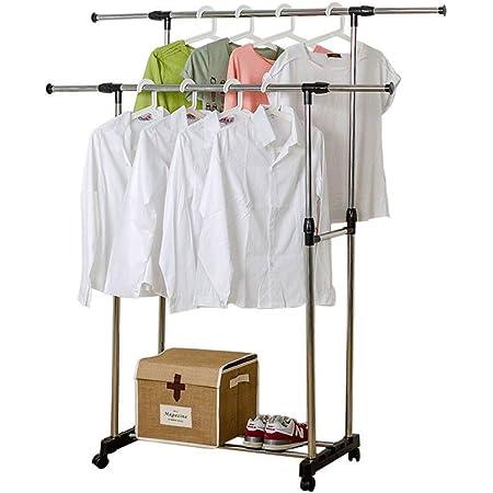 ONFMY - Portant à vêtements réglable en acier inoxydable - Double tringle - Avec roulettes