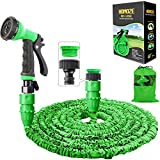 """HOMOZE Garden Hose Pipe 50 FT Expandable Garden Hose with 3/4"""", 1/2"""" Fittings, Anti-leakage - Flexible Expanding Hose with 8 Function Spray Nozzle (Green)"""