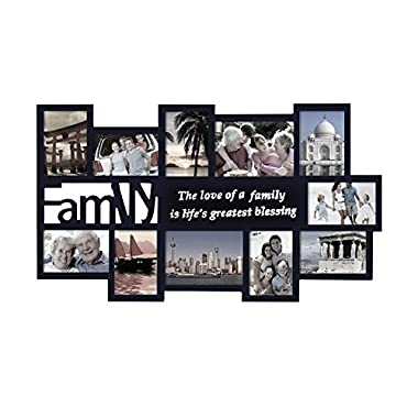 Adeco Black Decorative Wood ''Family'' Collage Wall Hanging Picture Photo Frame, 4x6 In, 5x7 In
