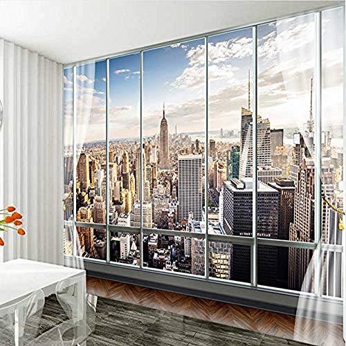 Benutzerdefinierte Tapete 3D-Stereo-Wandgemälde Modernes Virtuelles Fenster-Wohnzimmer Sofa Bed Bedroom New York Background-@