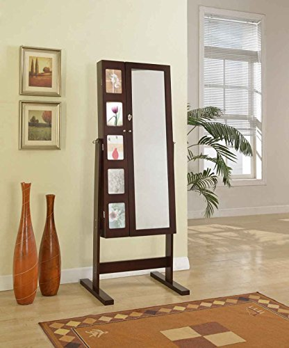 Cheval Mirror with Double Door Jewelry Armoire and Photo Frame
