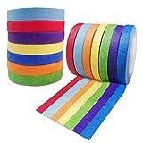 Maxin Washi Tape - Cinta adhesiva de color para etiquetado, codificación, artesanía, suministros de arte para niños, decoración de fiestas, decoración de aulas (1 cm x 12 m)