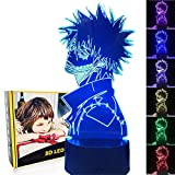 MCdreamUSA My Hero Figure 3D LED Night Light for Boys Girls Kids, Anime 3D Illusion Lamp Smart Control Multicolors Changing Table Lamp Home & Room Decor Birthday Christmas Gifts (Dabi), M-84
