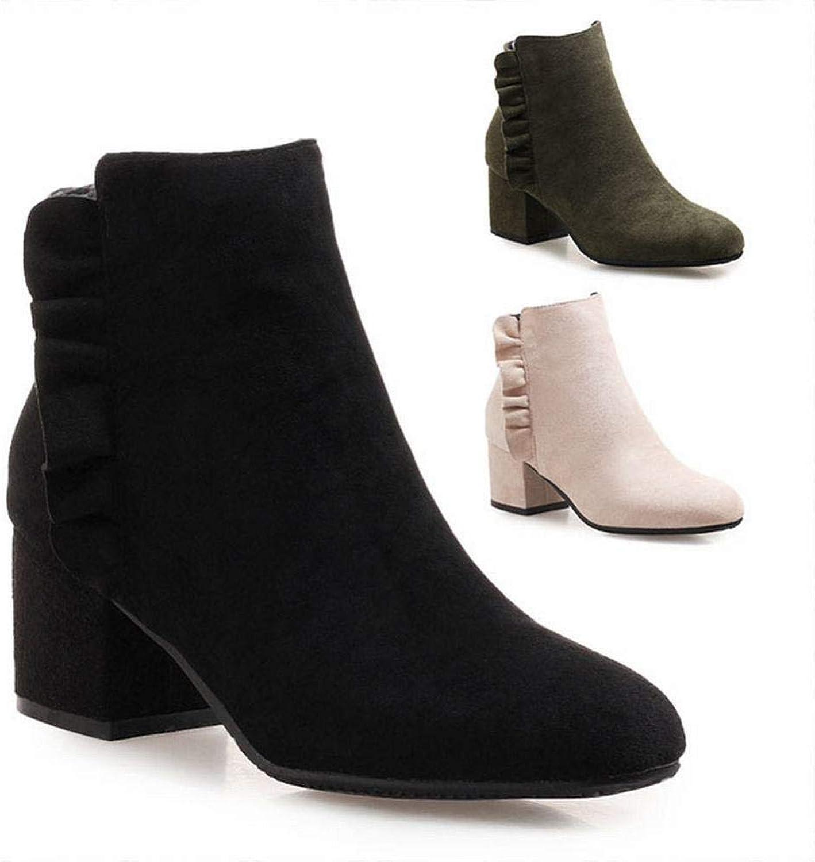 5.5Cm Heel High Spitzenstiefel Stiefeln mit dick Winter und