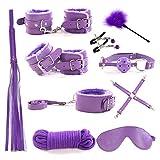 Juego completo 10Pc Púrpura De Felpa De Cuero Set Resrains SSSSSSSSSS... Herramientas De Juego Para Parejas