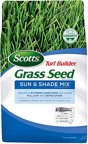 Scotts Turf Builder Grass Seed Sun and Shade Mix, Grows in Full Sun and Dense Shade, Use to Seed New Lawn or Overseed Existing Lawn, Spreads and Thickens for a Durable Lawn (. 3 lb. (1,200 sq. ft.))