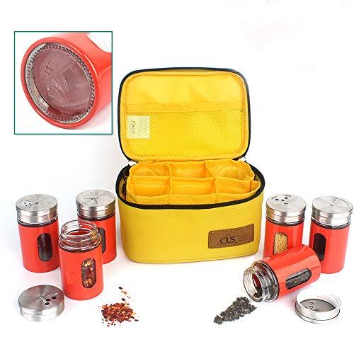 BrilliantDay Equipo de cocinar al Aire Libre Aceite de vinagre Dispensador Set de Botella Equipo de Barbacoa Set de Cruet de Salsa de 6 Dispensing Portable Frasco de Aceite para Camping Barbacoa#2