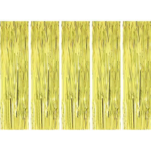 com-four® 5X Lametta für Weihnachten - Lametta Girlande in goldfarben - Weihnachtsschmuck für den Christbaum - 50 cm (goldfarben - 05 Stück)