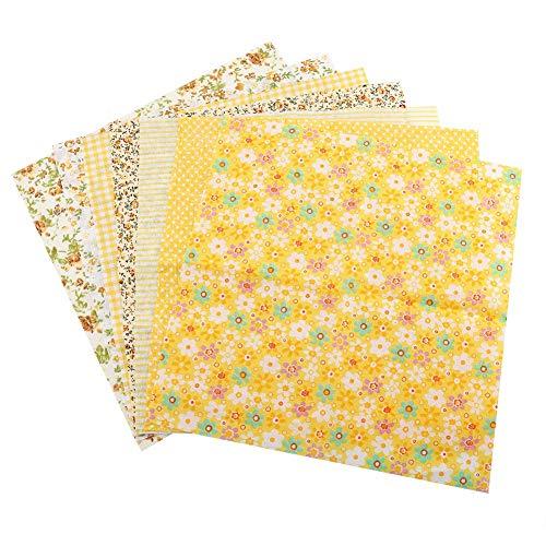 Duokon 7pcs 25 * 25 cm Tela de algodón DIY Cuadrados Surtidos Lecho precortado Suite Cuartos Paquete Amarillo (25 * 25)