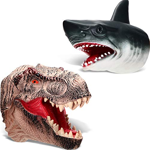 Blulu Tyrannosaurus Rex Duel Prehistoric Shark Hand Puppet Set Role Play Toys, Soft Rubber Realistic Shark and Dinosaur Toys, Animal Puppets Rubber Set of 2