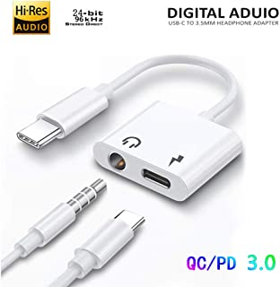 USB-C to 3.5 mm Headphone Charger Adapter 2in1 Digital and Fast Charger QC/PD Adapter with DAC 24bit Hi-Res Compatible with Samsung Note 10/S10,Google Pixel 2/2XL/3/3XL,iPad Pro 2018,OnePlus 7 Pro