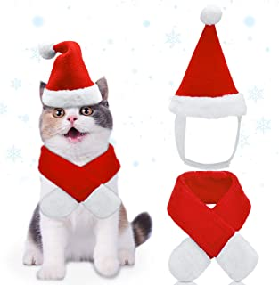 AVOD Cute Pet Costume Outfits Red Christmas Santa Claus Hat Scarf Cosplay Dressing up Xmas Party Fashion New Year Clothing Accessories for Small Pet Cat Dog