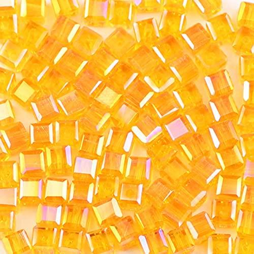 QWESD Cuentas de Cristal de Forma Cuadrada austriaca 4mm 100 unids/Lote Cuentas Sueltas de Vidrio Cuadrado para Bricolaje joyería de Mujer Collar Pulsera fabricación-Naranja