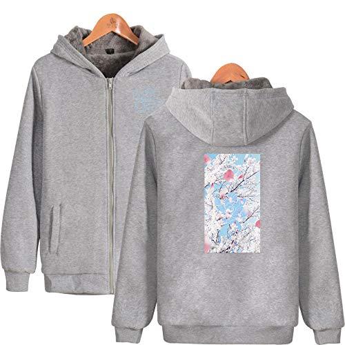GEZIBABA Kapuzenpullover,Hoodies Sweatshirts Bunte Flamme 3D Sweatshirts Männer Frauen Mit Kapuze Samt Lose Mantel Im Herbst Winter Jacken Streetwear @ L