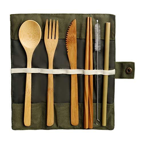 nuoshen Bamboo Cutlery Set, Reusable Bamboo Utensils Set Eco Friendly Travel Tableware Set