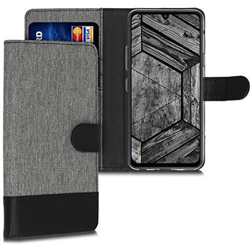 kwmobile Hülle kompatibel mit LG G8X ThinQ - Kunstleder Wallet Hülle mit Kartenfächern Stand in Grau Schwarz