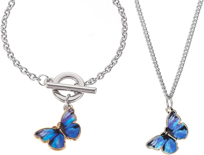 Timesuper 2Pcs Butterfly Pendant Necklace Bracelet Set Elegant Simple Charm Jewelry Accessories for Women Girls