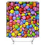 OKJK Duschvorhang Rainbow Candy 3D-bedruckter Stoff Duschvorhang-Sets Badezimmerdekor mit Haken Wasserdicht Waschbar - mit 12 Duschvorhanghaken - 180 cm x 180 cm