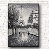 N / A Posters and Prints Streetscape Knife Oil Painting Canvas Prints Poster Photos Home Decor Frameless 40x60cm