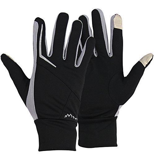 Men's Performance Active Wear Running Gloves (Silver, Large)