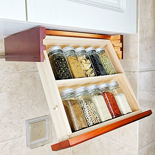 CRAKTH Wooden Under Cabinet Spice Rack Organizer and Storage for Kitchen, Pull Out Seasoning Rack, Space Saver, Easy to Use