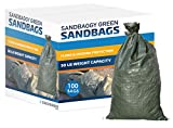 Sandbaggy - Empty Poly Sandbags W/UV Protection - Size: 14' x 26' - Color: Green - Military Grade - Trusted by US Military & National Park Service (100 Bags)