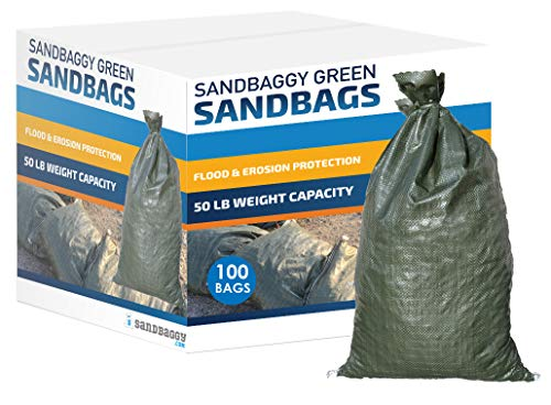 Sandbaggy - Empty Poly Sandbags W/UV Protection - Size: 14' x 26' - Color: Green - Military Grade (100 Bags)