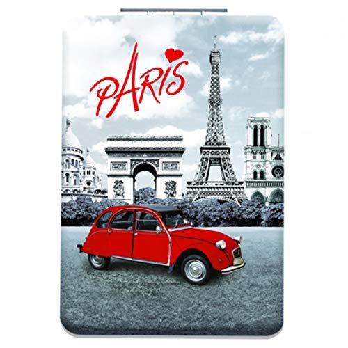 Les Trésors De Lily [Q3106] - Miroir de poche 'Week-end à Paris' noir blanc rouge - 8.5x5.5 cm