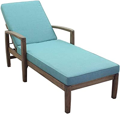 Courtyard Casual 5361 Avalon Collection 1 Teak Chaise Lounge, Heather Gray