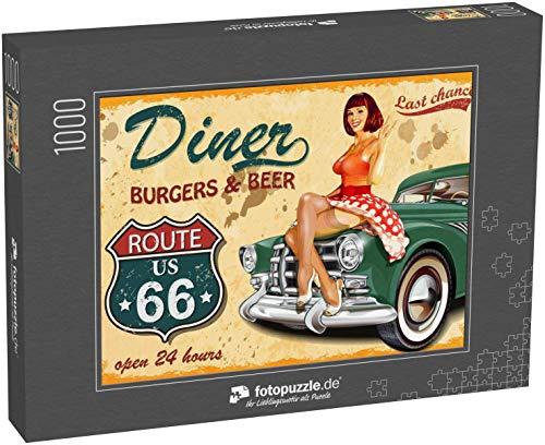 Puzzle 1000 Teile Diner Route 66 Oldtimer-Poster - Klassische Puzzle, 1000/200/2000 Teile, in edler Motiv-Schachtel, Fotopuzzle-Kollektion \'Vintage-Schilder\'