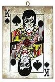 KUSTOM ART Quadro Quadretto Stile Vintage Elvis Presley Raffigurato nella Carta Re di Picc...