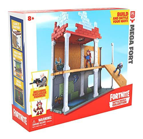 Boti 35641 - Fortnite Battle Royale Mega Fort Spielset, 38 teiliges Set zum Errichten von Festung, Wachturm oder Blockade, mit 2 exklusiven Figuren Blue Squire & Tricera Ops, ab 8 Jahre