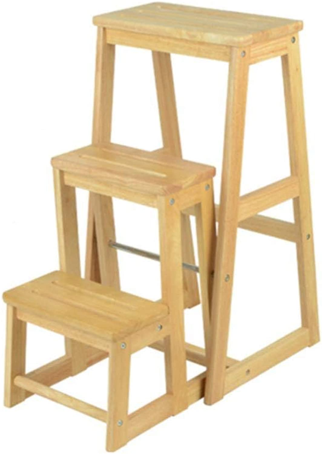 XITER Folding Ladder Stools Stairs Solid Wood Multifunction 3-step Bar Stool Change shoes Chair ladders (color   Wood color)
