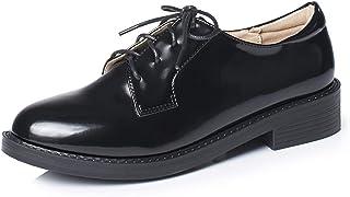 [THLD] レースアップシューズ レディース オックスフォード おじ靴 靴 マニッシュシューズ ラウンドトゥ エナメル 大きいサイズ オックスフォードシューズ 黒 フラット ローヒール ショートブーツ かっこいい オールシーズン