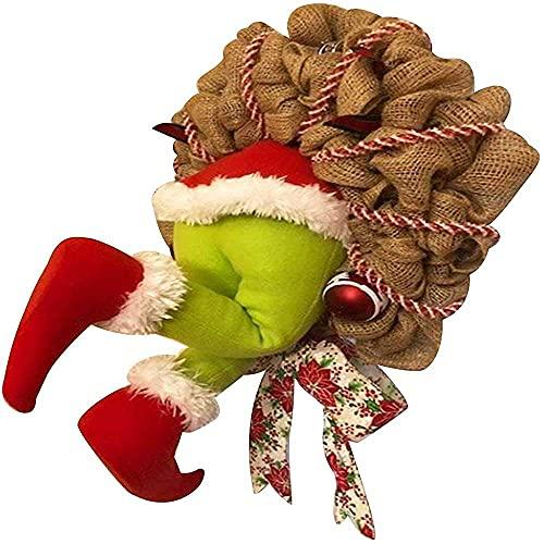 Yuyanshop Corona de ladrón de Navidad, cómo el ladrón de Navidad robó la corona de arpillera de Navidad, corona de Navidad para decoración de puerta delantera S
