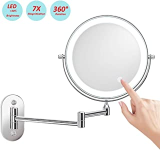 Makeup Mirror, LED Lighted Wall Mount, Battery Operated, 1x/7x Magnification, 8 Inches, Touch Button Adjustable Light, Polished Chrome