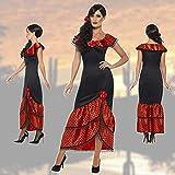 taglia: XL 52/54 colore: nero, rosso materiale: 100% poliestere volume di consegna: un costume di flamenco per donne composto da vestito e ornamento capelli