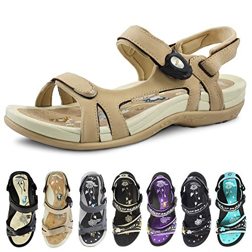 Gold Pigeon Shoes GP Signature SNAP Lock Sandals for Women: 9179 Tan, EU39 (US Size 8-8.5)