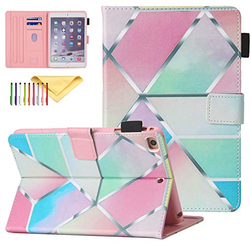 Uliking Mini Case for Apple iPad mini 1 2 3 4 5, Slim PU Leather Folio Stand Smart Cover Auto Sleep Wake Shockproof Cute Pattern Child Proof Case Cover for iPad Mini 1 2 3 4 5 7.9', Grid Marble